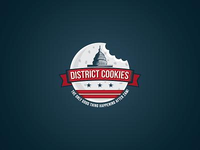District Cookies logo logo design mark art america symbol illustration identity usa moon retro cookies
