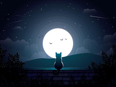 Wonder moon cat wonder art illustration