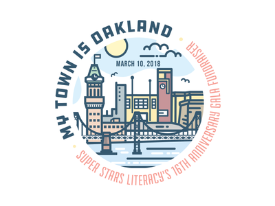My Town is Oakland! oakland logo emblem badge minimal modern flat