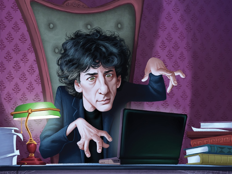 1000 Ideas About Neil Gaiman On Pinterest: Neil Gaiman Cartoon Portrait By George Doutsiopoulos