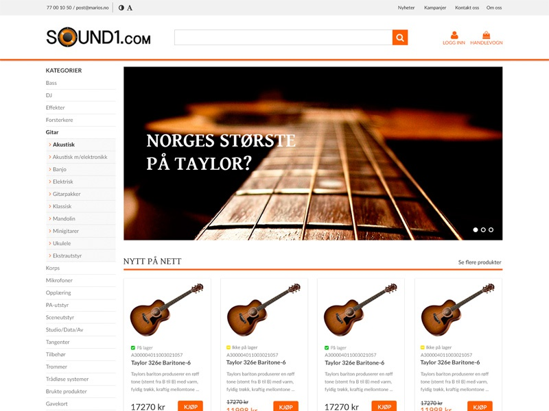 Sound1 redesign webshop web landing page homepage front page webdesign e-commerce music visma layout