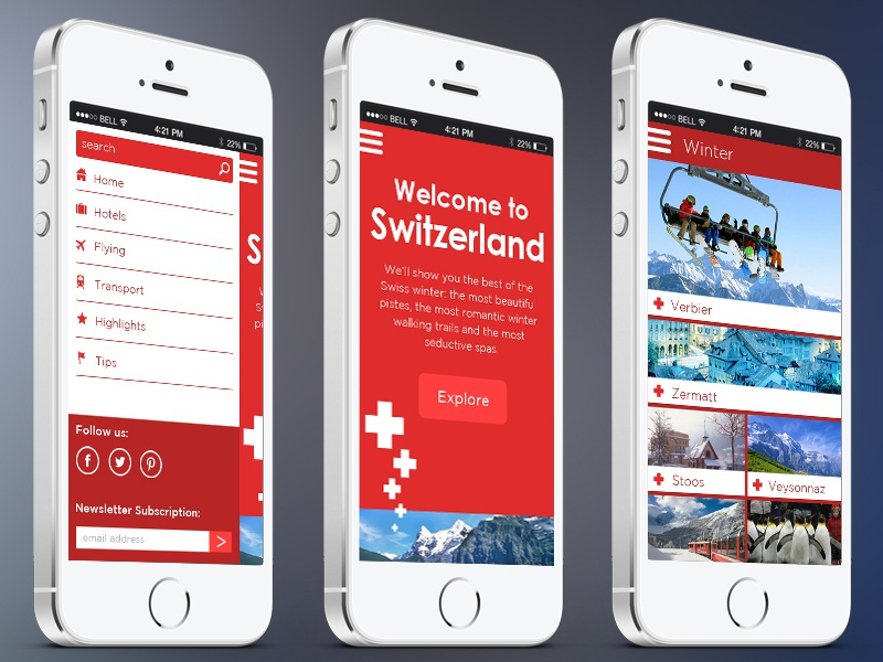 Mobile Optimized Site mobile mobile optimized site flat icons ui ux graphics photos side menu clean