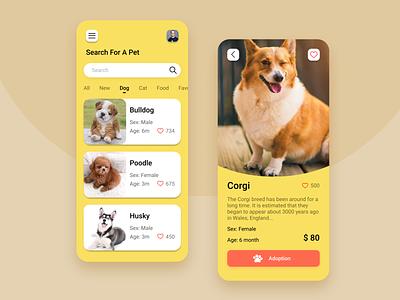 Pets App illustration mobile design mobile ui app tekono uiux ui product design petapp petstore pet care petshop pets pet