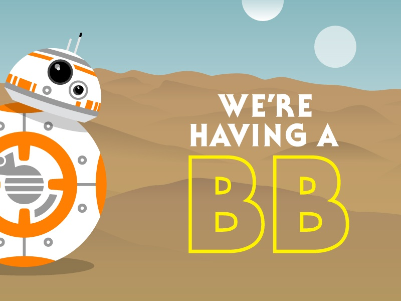BB Baby baby announcement bb-8 the force awakens star wars vector illustration baby