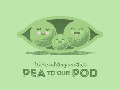 Peas in a Pod baby announcement family peas retro vector texture pod pea baby