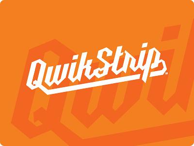Qwikstrip 2 logotype twinoaks lettering script orange retro logo vintage branding