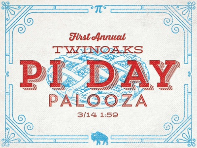 Pi Day Palooza pi day typography letterpress overprint grunge texture vintage twinoaks pie pi