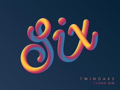 TWINOAKS turns Six lettering gradient rainbow vector illustrator type script six twinoaks