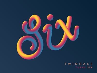 TWINOAKS turns Six lettering gradient rainbow vector illustrator type script six twinoaks