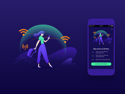 Avast Illustrations ⏤ VPN Mobile iosapp ios mobileapp productdesign app vpn character wi-fi connection protection privacy security avast illustration