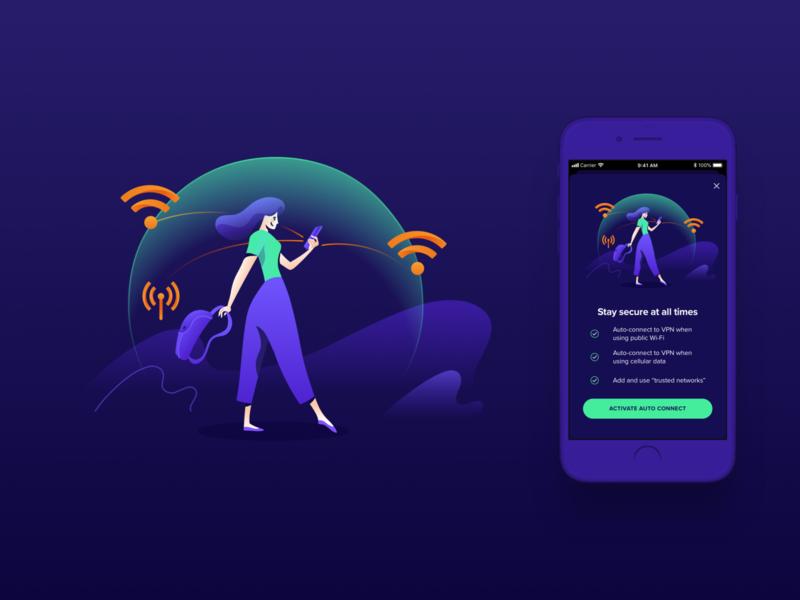 Avast Illustrations ⏤ VPN Mobile iosapp ios mobileapp productdesign app vpn character wi-fi connection protection privacy security avast illustration