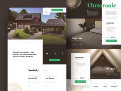 Vila Valeria ⏤ Web design clean brown green texture wood booking accommodation shed shack website design webdesign website web