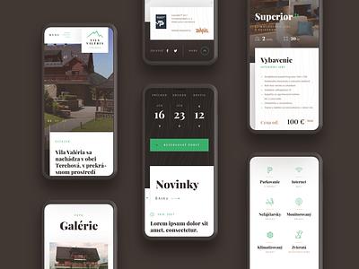 Vila Valeria ⏤ Web mobile mobile wood website webdesign web texture chalet shed shack green brown clean booking accommodation