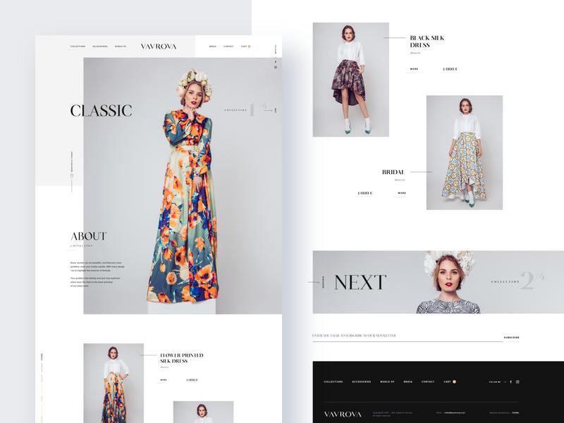 Vavrova ⏤ Homepage modern web design website design website webdesign web modeling minimal homepage fashion design fashion dresses clean
