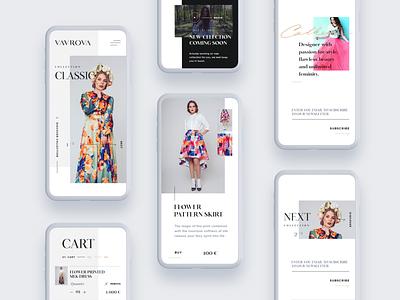 Vavrova ⏤ Web Mobile ecommerce mobile website design website web design webdesign web modern modeling minimal fashion design fashion dresses clean