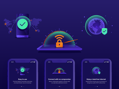 Avast Illustrations ⏤ VPN Mobile #3 application connection performance protection privacy security vpn iosapp ios app mobileapp productdesign avast illustration