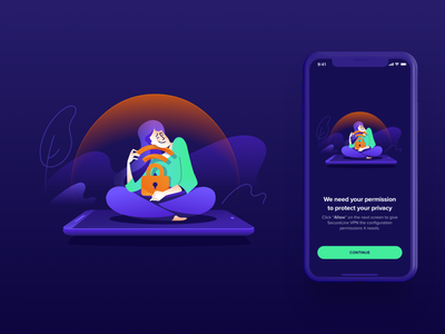 Avast Illustrations ⏤ VPN Mobile #4 application connection permission protection privacy security vpn iosapp ios app mobileapp productdesign avast illustration