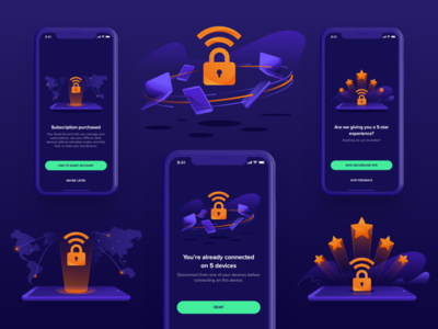 Avast Illustrations ⏤ VPN Mobile #5 application connection rating protection privacy security vpn iosapp ios app mobileapp productdesign avast illustration