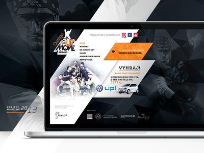 MoveUP - TV show Website / 2013 dance tv-shov webdesign web ui interface diagonal orange dark black 2013