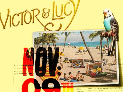 Save the Date / Victor & Lucy vintage graphics lettering collage