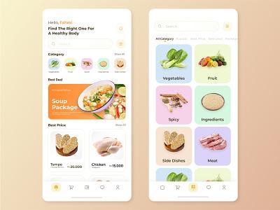 Grocery Mobile Apps - Exploration uiux designer amazing cool simple vegetables fruit food mobile design designer website ui home design modern design ui designer ui design user interface distributor grocery mobile apps clean