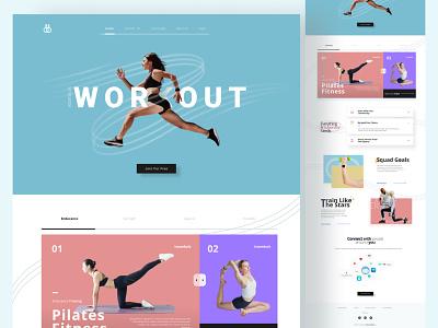 Workout Landing Page - Exploration clean pastel orange blue workout 3d illustration ui design uiux designer designer website ui design user interface