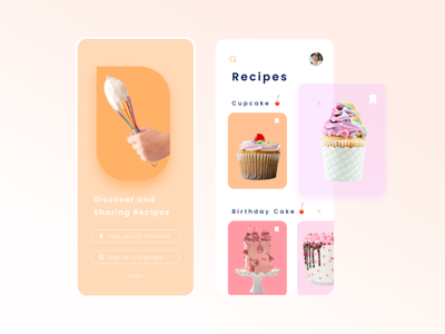 Cake Recipe App Design | dicover and sharing ui figma sharing discover recipe cupcake cake