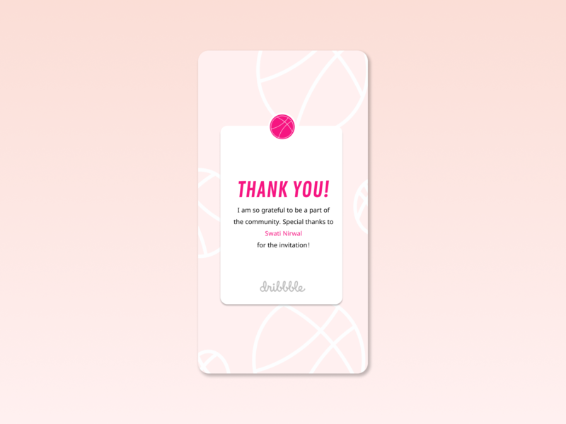 Thank you! logo typography dailyui pink hellodribbble hello dribble thankyou illustration design app