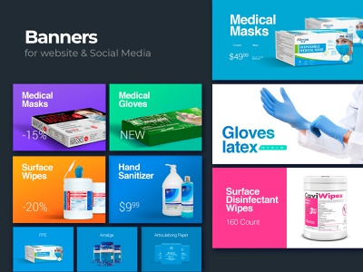 Website & Social Media Banners sanitizer wipes masks gloves corona medical care coronavirus medical facebook cover instagram template instagram banner facebook ad instagram post banner ad social media banners design
