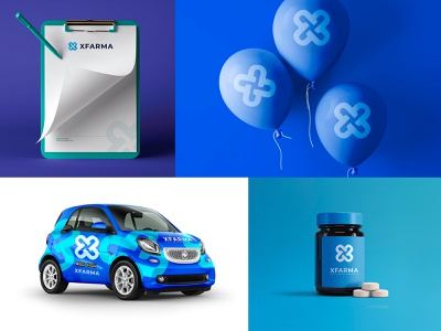X Farma Logo & branding vector ai psd design blue artwork folder package balloon identity label pills car brand design corporate logodesign online pharmacy pharmacy medicine