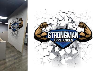 Strongman Appliances Billboard Design animation logos logodesigns graphicdesign sticker design logodesigner illustration design branding billboard billboard design