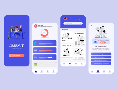Online Learning Application mobile ui learning app mobile app design illustration figma uxdesign uidesign ux ui