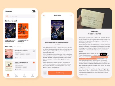 Book Streaming App book app application book uxdesign uidesign ui mobile app
