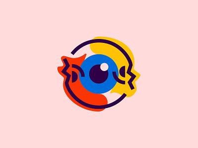 Janus eye eyeball eye simple symbol icons poster line icon mark skull logo illustration
