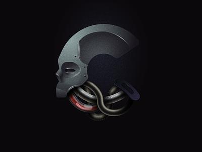 C-Cyborg skull illustration 36daysoftype