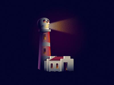 Lighthouse icon illustration lights 36daysoftype skull lighthouse