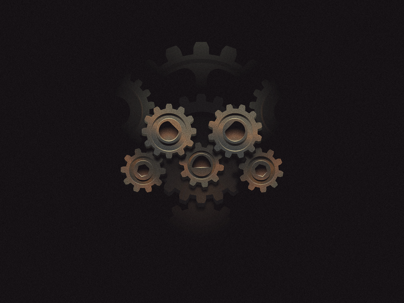 Mechanical death symbol icon logo skull illustration mechanical