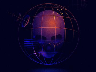 Orbit scifi orbit space 36daysoftype type illustration skull