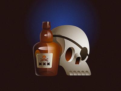 Rum bottle type pirate rum 36daysoftype illustration skull