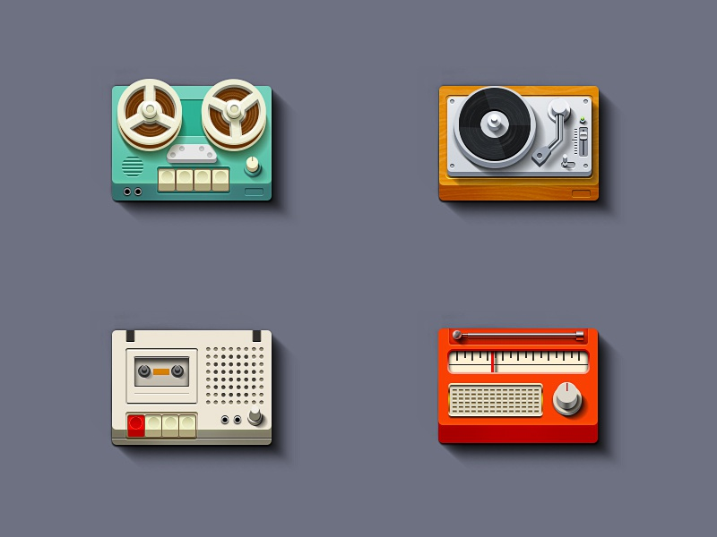 Simple Music Icons simple icon icons flat illustration radio turntable player recorder vintage