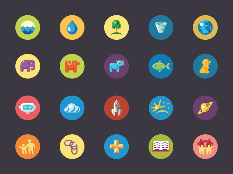 Simple Icons icon simple icons flat animals space earth people elephant