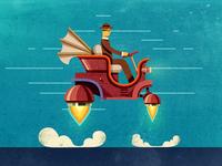 Steampunk flying car