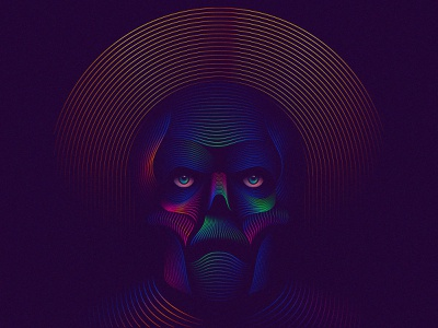 $aint colorful line blend gradient graphic design graphic design skull illustration
