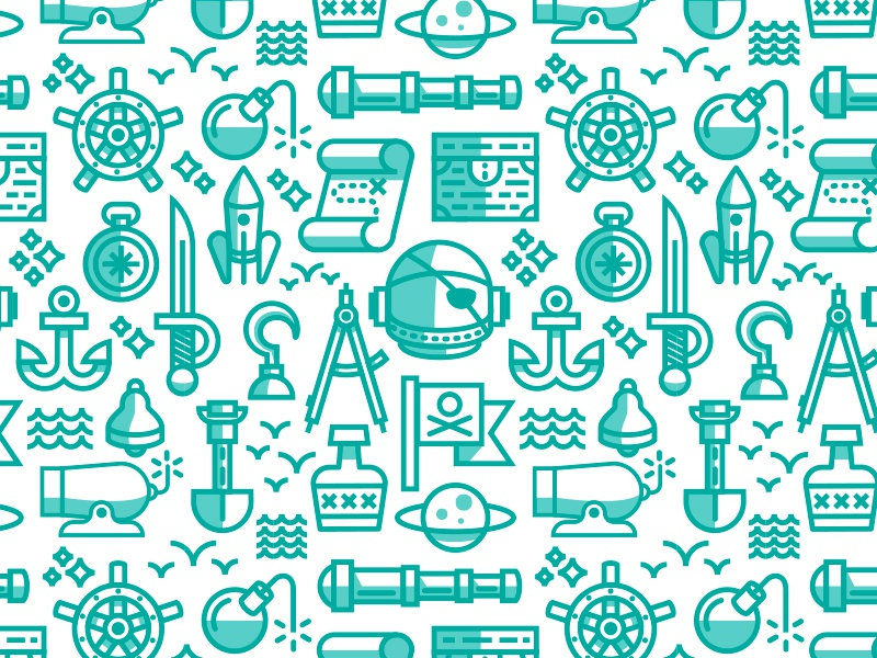 Space Pirate Pattern pirate space helmet icon pattern flag rum
