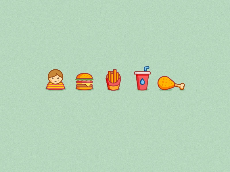 Foood food icon icons simple minimal burger fries chicken coke kid