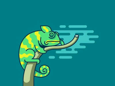 Chameleon tree sky illustration reptile chameleon