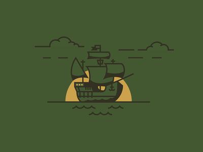 Ship discovery columbus custom line illustration ship