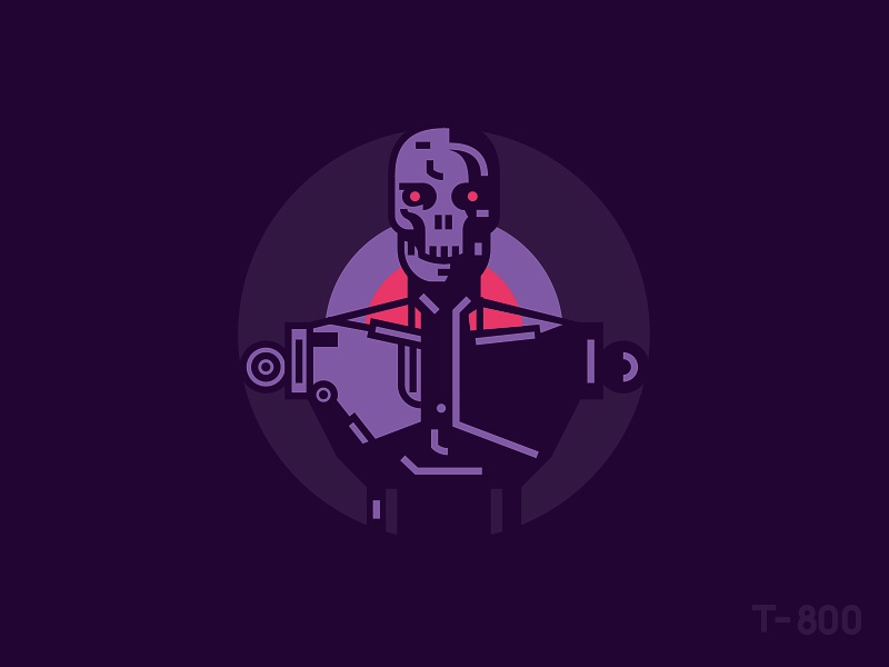 T - 800 skull illustration line movie terminator