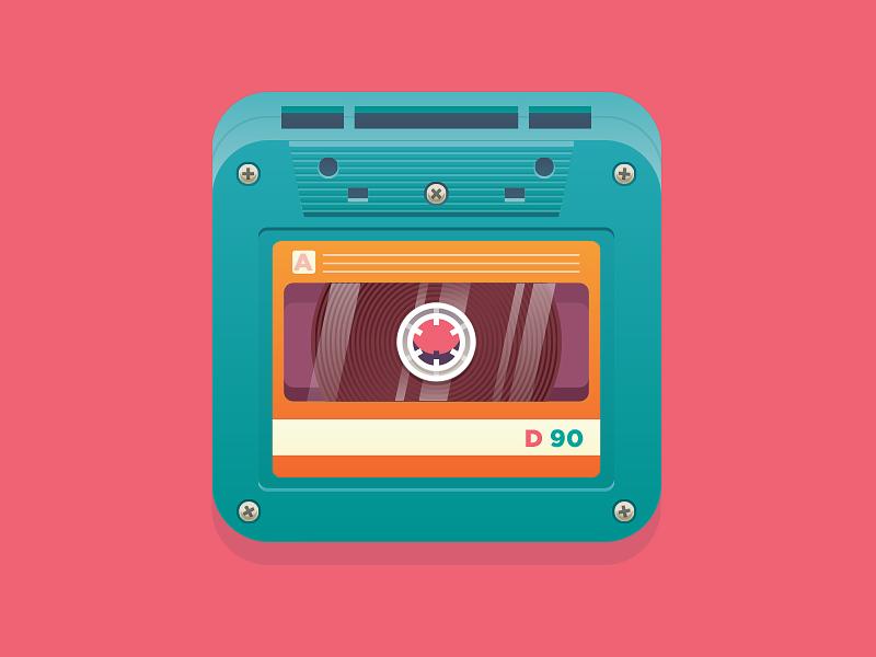 Cassette illustration flat icon tape cassette