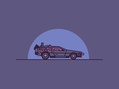 DeLorean future back to the future back movie car illustration